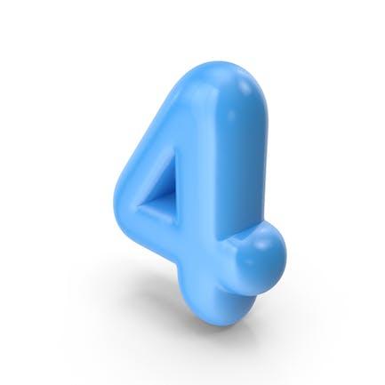 Blauer Toon-Ballon Nummer 4
