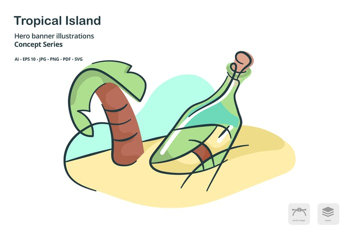 Thumbnail for Tropical Island Destination Vector Illustration