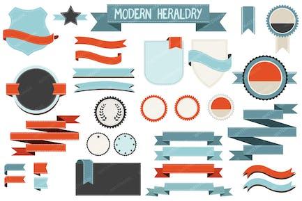 Moderne Heraldik Banner, Schilde und Bänder