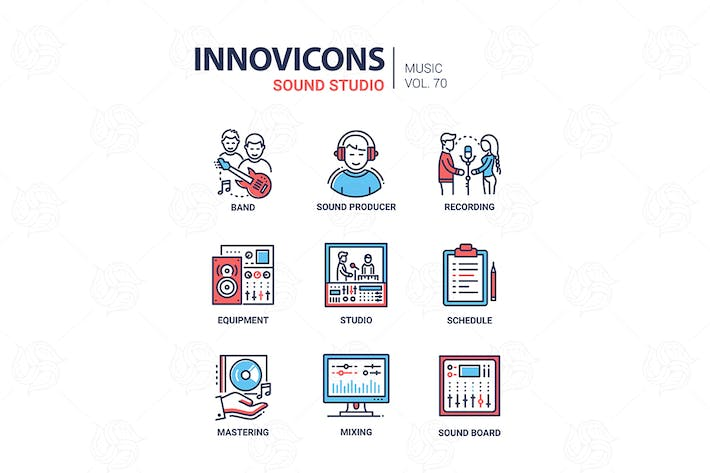 Thumbnail for Sound Studio - Liniendesign Icons Set