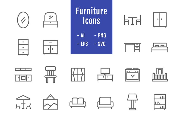 Thumbnail for 20 Furniture Icons (Line)