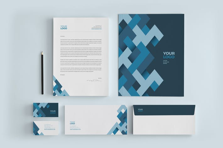 Thumbnail for Modern Blue Pattern Stationery