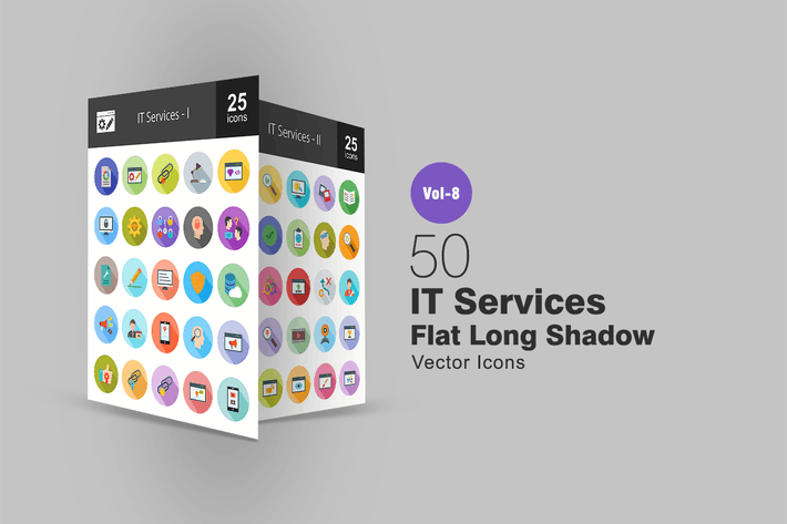 Thumbnail for 50 IT Services Flat Shadowed Icons