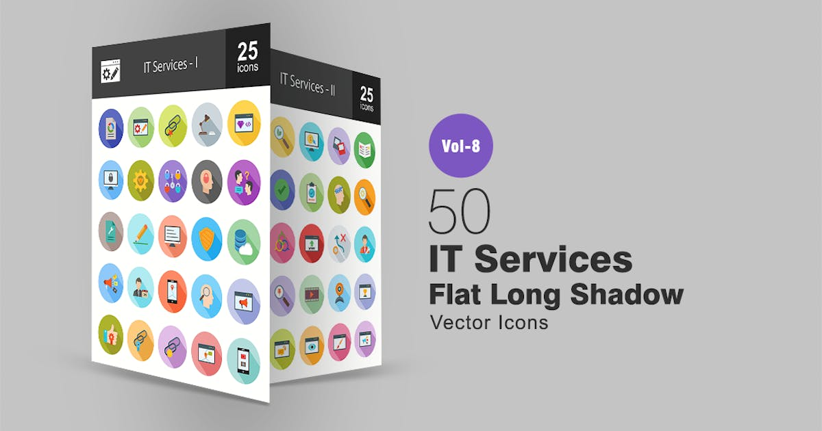 Download 50 IT Services Flat Shadowed Icons by IconBunny