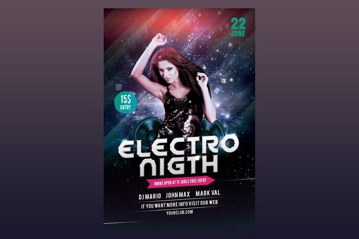 Thumbnail for Electro Night Flyer Poster