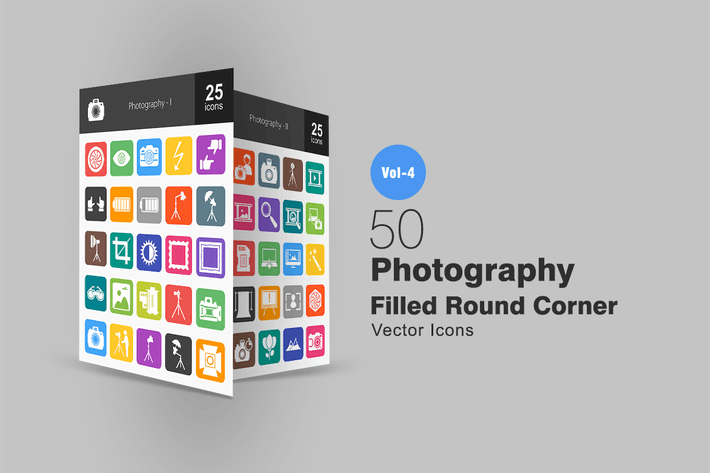 Thumbnail for 50 Photography Flat Round Corner Icons
