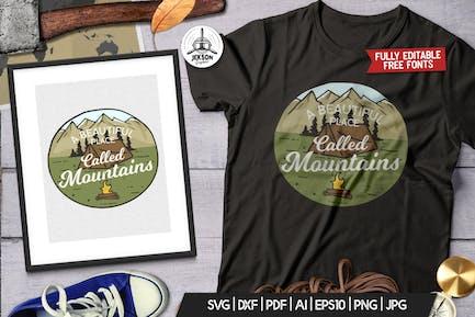 Camp Vector Patch - Mountain Adventure Retro Logo