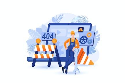 Website Under Construction - Flat Concept