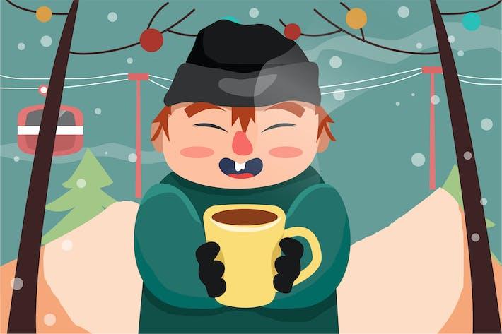 Thumbnail for Boy with Coffee - Ilustración Vector