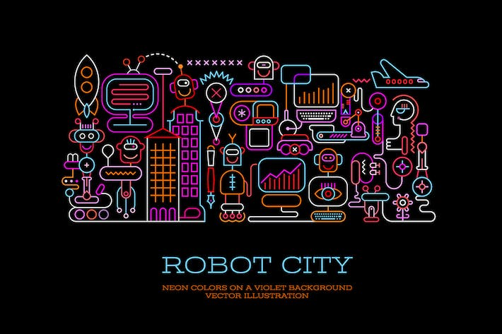 Thumbnail for Robot City (5 Options) vector illustration