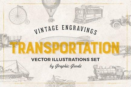 Transportation - Engraving Illustration Set