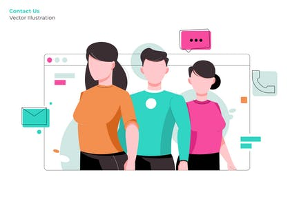 Contact Us - Vector Illustration