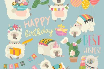 CarPersonaje de dibujos animados de llama de alpaca divertida con el nacimiento