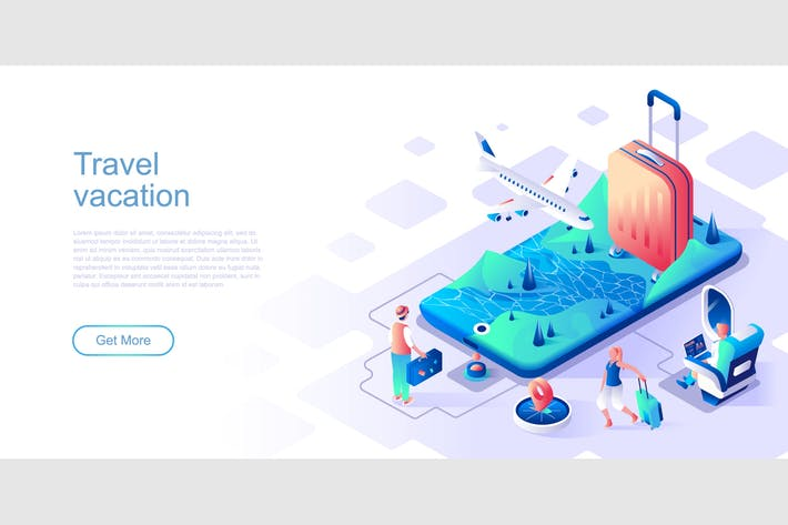Thumbnail for Travel Vacation Isometric Flat Concept Header