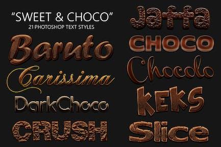 Sweet and Choco 21 Estilos Photoshop