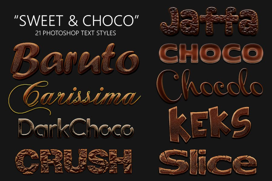 Sweet and Choco 21 Photoshop Styles