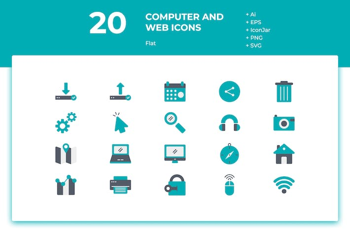 Thumbnail for 20 Computer and Web Icons (Flat)