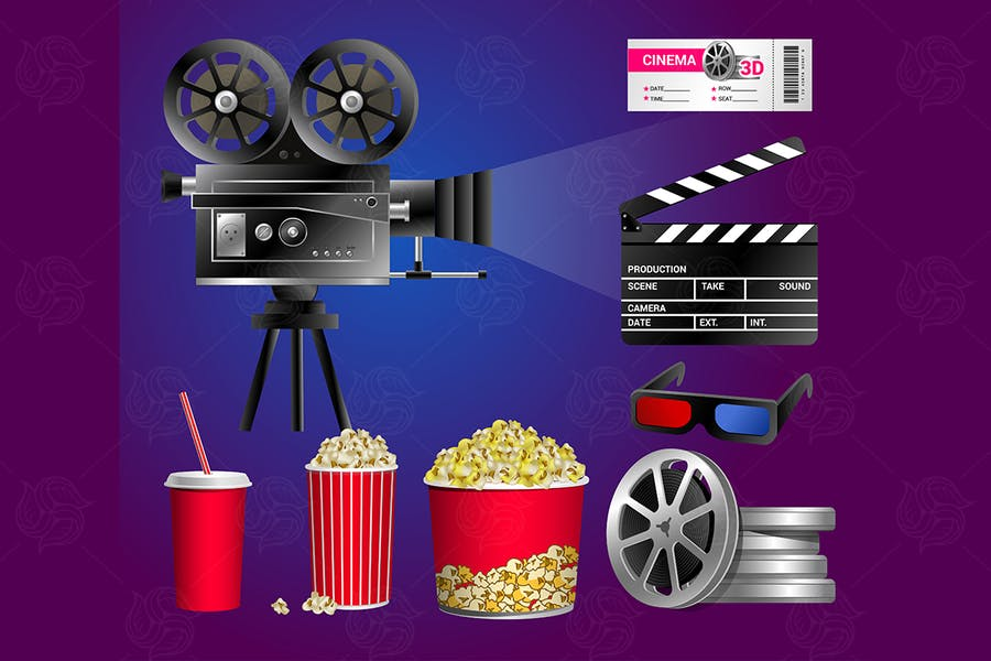 Set of cinema objects - vector realistic clip art