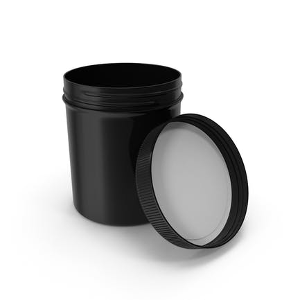 Black Plastic Jar Wide Mouth Straight Sided 16oz Open