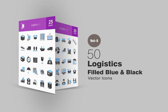 Thumbnail for 50 Logistics Blue & Black Icons