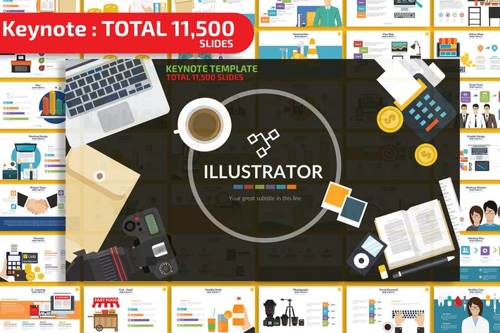 Thumbnail for Illustrator Keynote Presentation Templates