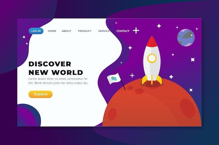 Thumbnail for Discover New World - XD PSD AI Vector Landing Page