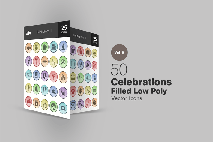 Thumbnail for 50 Celebrations Filled Low Poly Icons