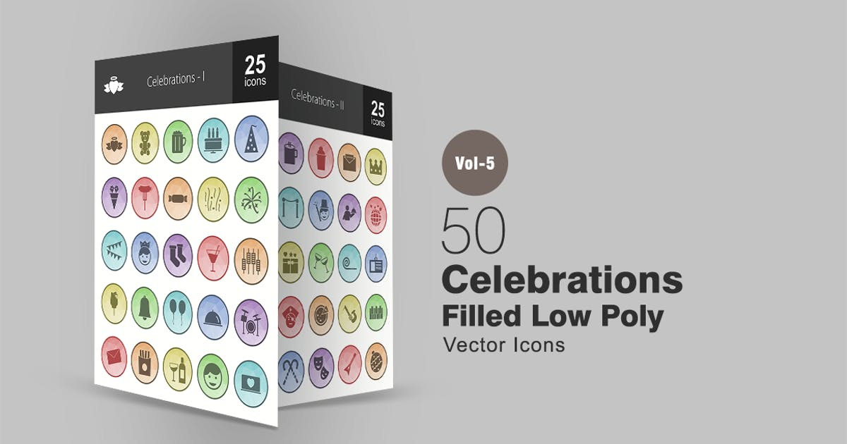 Download 50 Celebrations Filled Low Poly Icons by IconBunny