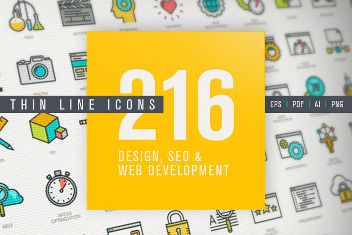 Set of Thin Line Icons for Design, SEO,Development