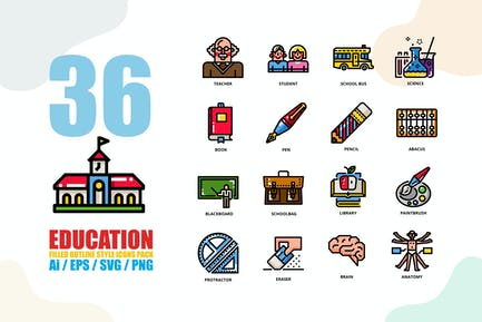 Education Filled Outline Style Icon set