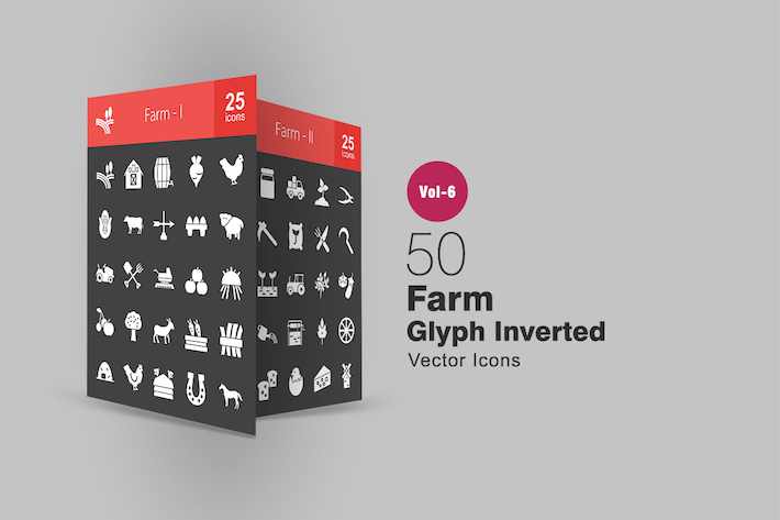 Cover Image For 50 Farm Glyph Inverted Icons
