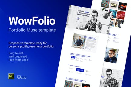 WowFolio - Отзывчивый Портфолио/Резюме Muse Temp