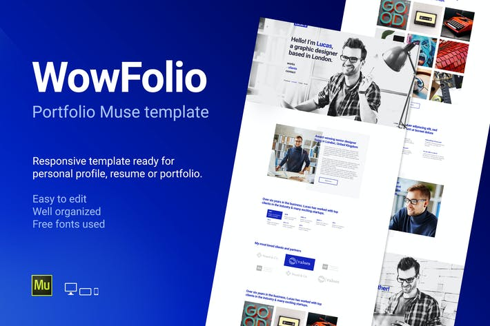 Thumbnail for WowFolio - Responsive Portfolio / Resume Muse Temp