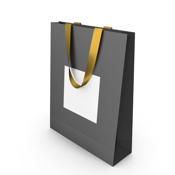 Черно-белая бумажная сумка с золотыми ручками