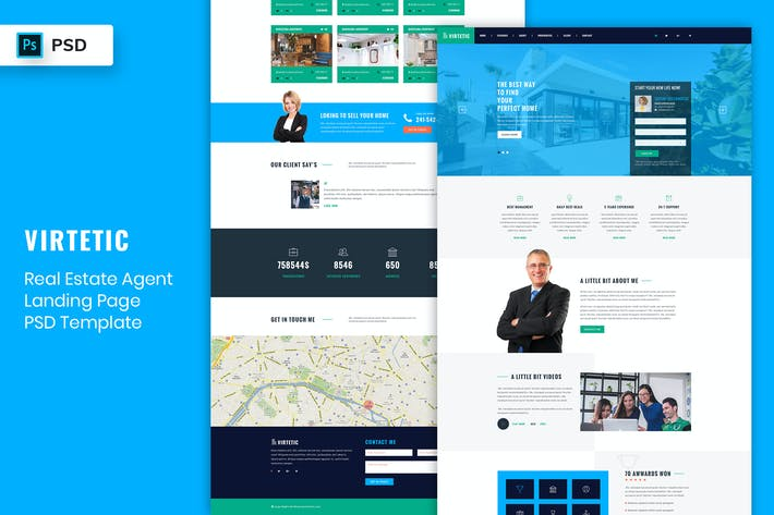 Thumbnail for Real Estate Agent - Landing Page PSD Template-02