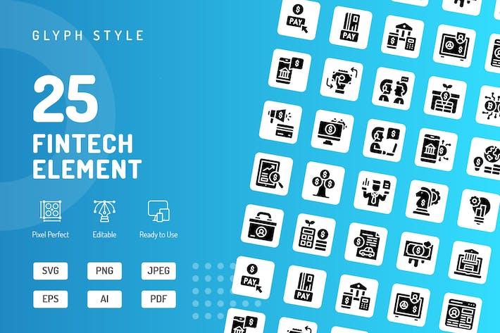 Thumbnail for Fintech Element Glyph Icons