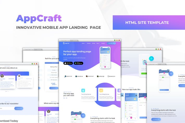 Thumbnail for AppCraft - Mobile App Landing Page