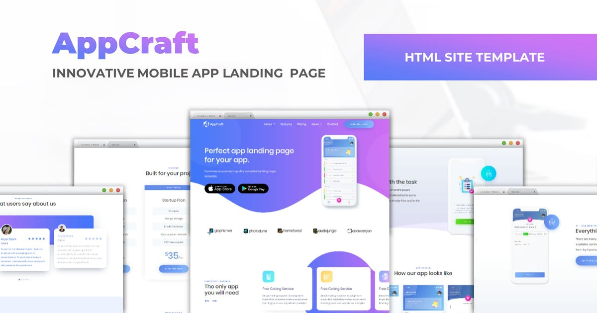 Download AppCraft - Mobile App Landing Page by CocoTemplates