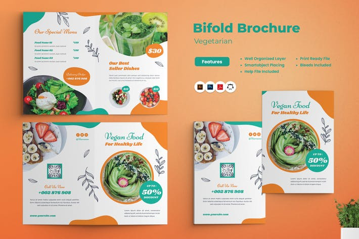 Brochure à deux volets végétariens