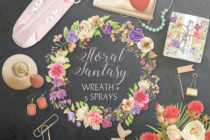 Thumbnail for Watercolor Wreath of Mixed Florals
