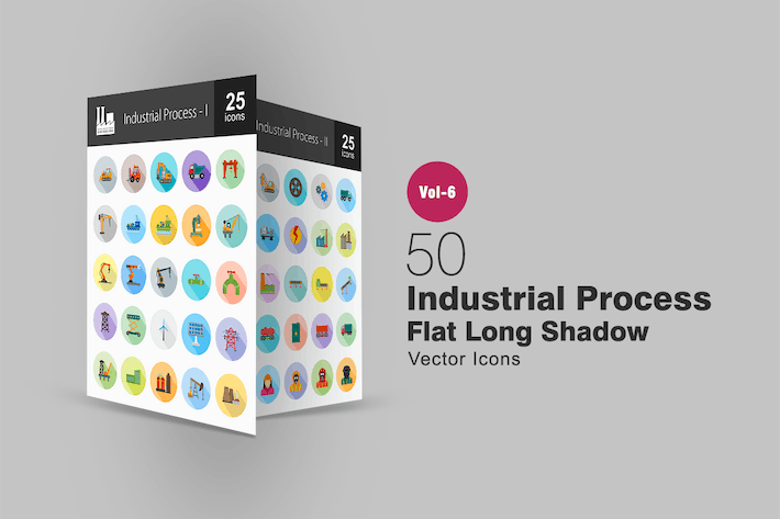 Thumbnail for 50 Industrial Process Flat Shadowed Icons