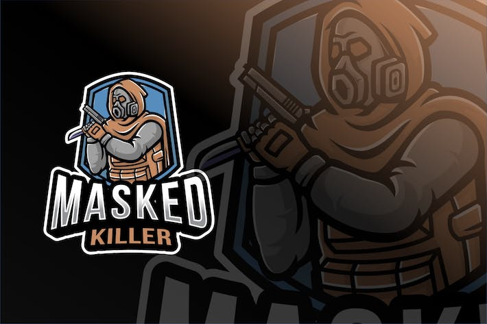 Thumbnail for Masked Killer Esport Logo Template