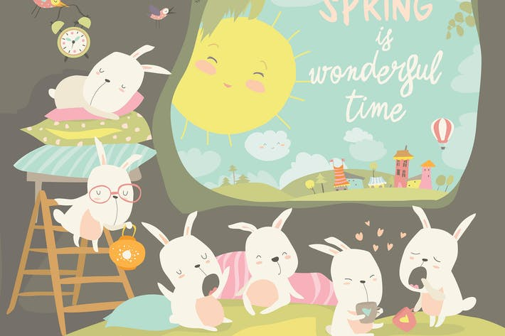 Thumbnail for Cute rabbits awaking in hole. Hello spring. Vector