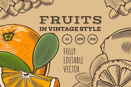 Frutas en estilo Vintage