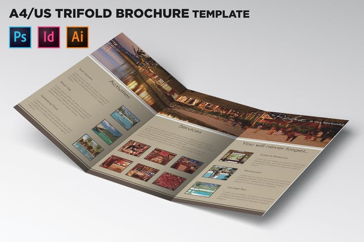 Thumbnail for Travel Trifold Brochure Template