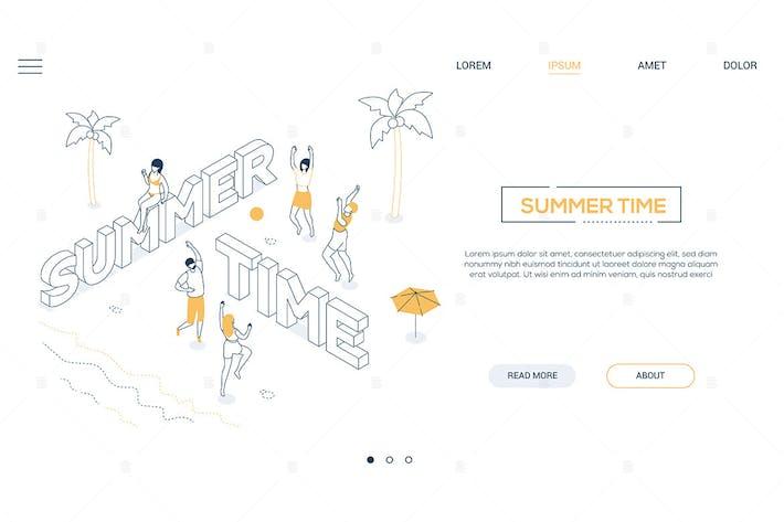 Thumbnail for Sommerzeit - Linie Design Stil isometrische Banner