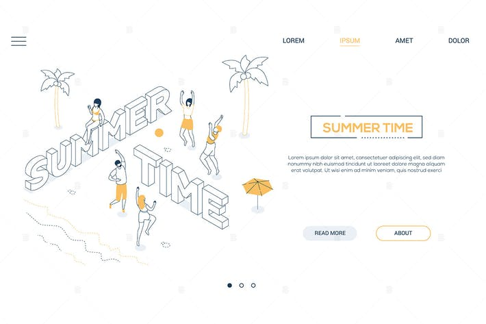 Thumbnail for Summer time - line design style isometric banner