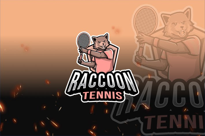 Thumbnail for Raccoon Tennis Sport Logo Template