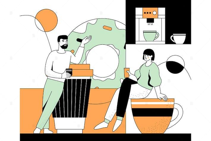 Kaffeepause - flache Design-Stil-Illustration