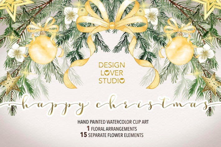 """Cover Image For Watercolor """"Happy Christmas"""" gold"""